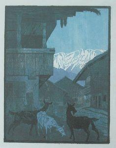 Wimpelkette - Farbholzschnitt - Neumann, Hans (1873-1957) - Ziegen im Gebirgsdorf, 1912