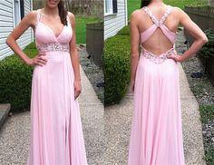 Pink Backless Long Prom Dresses, Open Back Prom Gowns, Pink Prom Dresses 2016, Party Dresses 2016,Long Prom Gown,Open Backs Prom Dress