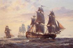 """The 'Bonhomme Richard,'"" by Geoff Hunt. This was John Paul Jones' flagship in the battle with ""HMS Serapis."""