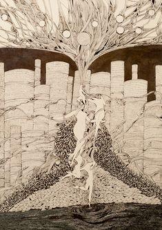 #feminine #elevation #aerial #woman #figurine #figurative #annadeligianni #blackandwhite #drawing