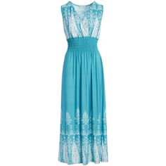 jon & anna Turquoise & White Shirred Surplice Maxi Dress ($15) ❤ liked on Polyvore featuring dresses, shirred dress, ruching dress, shirred maxi dress, turquoise dress and white dress