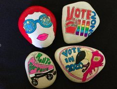 Rock The Vote, The Rock, Women Right To Vote, Smooth Rock, Beach Rocks, Seashell Art, Kindness Rocks, Nightmare Before Christmas, Painted Rocks