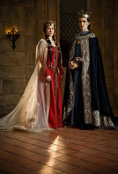 Ed Stoppard and Olivia Ross in Knightfall Medieval Costume, Medieval Dress, Medieval Fashion, Medieval Clothing, Historical Costume, Historical Clothing, Olivia Ross, Philip Iv Of France, Queen Costume