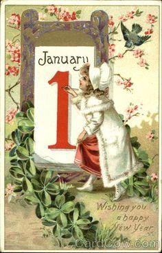 Vintage New Year Postcard, ca. 1900s