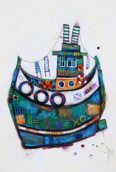 Ritchie COLLINS - Fishin' Boat Medium;Oil Size;25x19 inches Price;£695