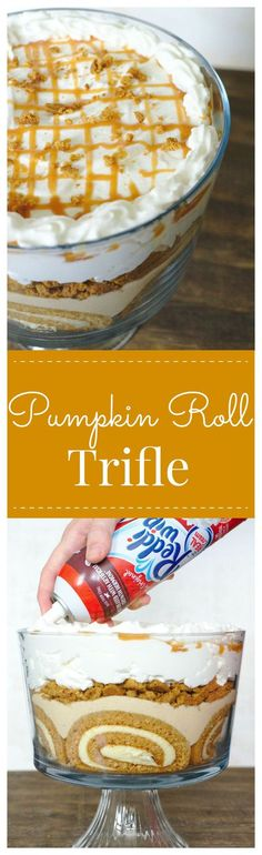 Pumpkin Roll Trifle – An elegant fall dessert that's perfect to feed a crowd! Gorgeous layers of pumpkin roll, crushed gingersnaps, pumpkin mousse.