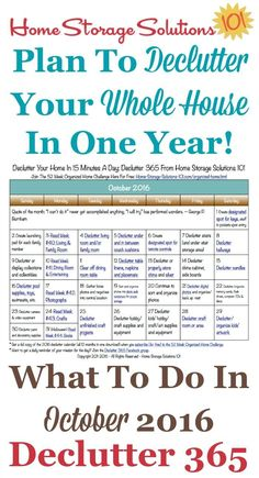 Free printable October 2016 decluttering calendar with daily 15 minute missions. Follow the entire Declutter 365 plan provided by Home Storage Solutions 101 to declutter your whole house in a year. #declutteryourhome