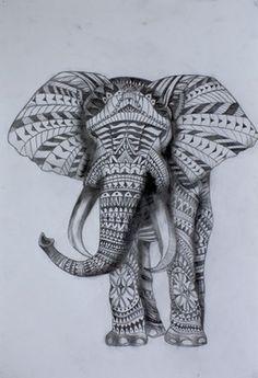 "Saatchi Art Artist Julian Rose; Drawing, ""Tribal Elephant"" #art"