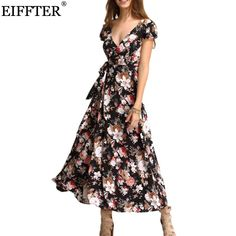 3fbfc410c56 2017 New Arrival Summer Women Fashion Short Sleeve V-Neck Floral Print Maxi  Dresses Sexy Beach Long Bind Backless Dress ZL0022