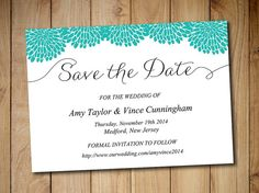 """Printable Save the Date Template Download - Wedding Announcement """"Handwritten Chrysanthemum"""" Teal Blue Green - Save the Date Invitation Card by PaintTheDayDesigns"""