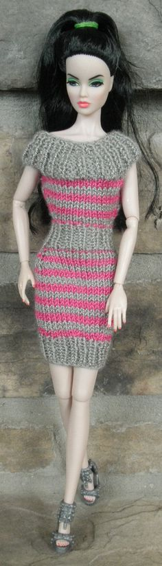 1042-005 Pink and gray hourglass collar dress