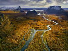 Aerial of Rapa River, Sarek National Park, Lapland, Sweden, September 2007, Hans Strand