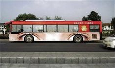 creative advertising- bus wheels as eyes