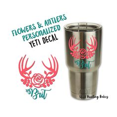 Personalized Floral Antler Decal Yeti Tumbler Decals | Girly Yetis | Cute yeti decal ideas