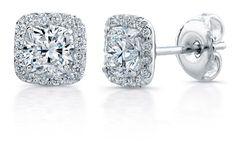 2.50CT D/VVS1 Cushion Cut Diamond Stud Earring 14k White Gold Solitaire Studs  | eBay