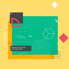 幾何学的な形で現代のメンフィスの背景 無料ベクター