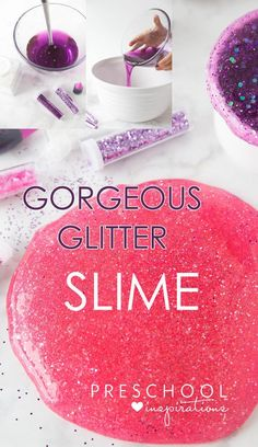How to Make Gorgeous Glitter Slime! - Preschool Inspirations How to make gorgeous glitter slime! If you need a slime recipe that works great the first time, this is the best slime recipe! Borax Slime, Slime No Glue, Slime Craft, Diy Slime, Slime Asmr, Playdough Slime, Cool Slime Recipes, Easy Slime Recipe, How To Make Glitter