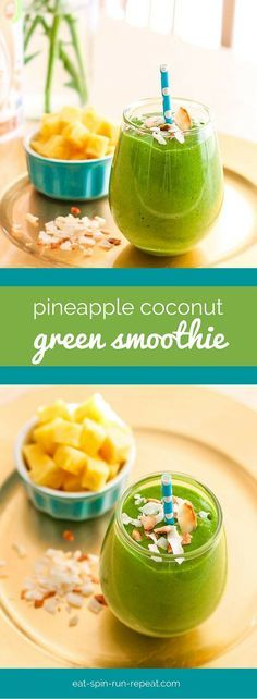 Pineapple Coconut Green Smoothie - A simple smoothie great for boosting digestion thanks to the enzyme bromelain in pineapple. It's also high in vegan protein and loaded with nutrient-dense greens!