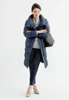 Lightweight Down Volume Collar Coat - This coat features none of the tightness of a down, just light, soft comfort. The large collar adds extra warmth, plus an attractive style.