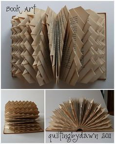 30 Insanely Beautiful Examples of DIY Paper Art That Will Enhance Your Decor homesthetics decor Folded Book Art, Paper Book, Book Folding, Diy Paper, Paper Art, Paper Crafts, Altered Book Art, Recycled Books, Book Sculpture