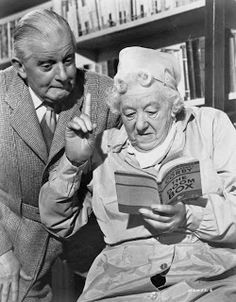 'Murder Ahoy' Stringer Davis and real-life wife Margaret Rutherford in Agatha Christie's Miss Marple film. Margaret Rutherford, British Comedy, British History, Agatha Christie, Caricatures, Mrs Marple, People Reading, Hercule Poirot, British Actresses