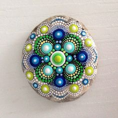Dot Art Mandala Painted Stone Fairy Garden Gift  Decoration Painted rock Beachstone