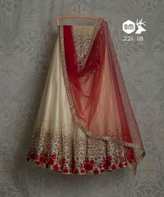 SwatiManish Lehengas SMF LEH 221 18 Ivory glitter lehenga with red and scarlet shaded dupatta and blouse