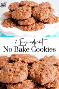 No Bake Cookies Using only 7 ingredients and a microwave. Perfect cookie to get the kids involved. Microwave Cookies, Easy No Bake Cookies, White Chocolate Chip Cookies, Baking Recipes, Cookie Recipes, Dessert Recipes, Yummy Recipes, Delicious Desserts, Yummy Food