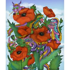Dragons and Poppies print by FullFrogMoon