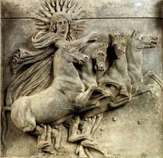 Orphic Hymn to Hêlios (the Sun)  Hearken, O blessed one, whose eternal eyes are on all, Titan radiant as gold, Hyperion, celestial light, Self-born untiring, sweet sight to living creatures.  On the right you beget dawn and on the left, night.  You temper the seasons as you ride your dancing horses, And rushing swiftly, O fiery and bright-faces charioteer, You press...