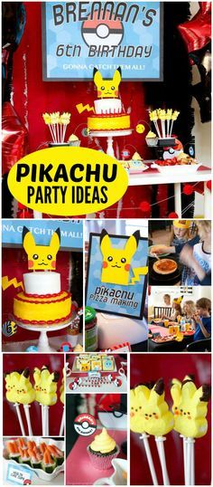 How fun is this Pikachu Pokemon party with pizza and games?! See more party ideas at CatchMyParty.com!