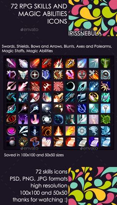 72 RPG Skills and Magic Abilities Icons — Photoshop PSD #arrow #staff • Available here → https://graphicriver.net/item/72-rpg-skills-and-magic-abilities-icons/15489337?ref=pxcr
