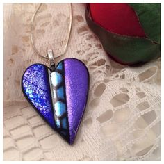 """Purple Patterned"" Dichroic Glass Heart Pendant | Dichroic Glass Jewelry, Fused Glass Jewelry"