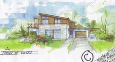sketch of family home Studios, Home And Family, Sketches, Pictures, Painting, Design, Art, Arquitetura, Craft Art