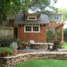 Build Backyard Shed Design, Pictures, Remodel, Decor and Ideas - page 7 love the stacked stone wall and fire pit! This is exactly what we need!!
