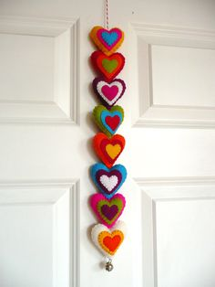 Colorful felt hearts garland. $31.99, via Etsy.