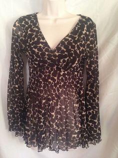 BCBG Max Azria Leopard Print Sheer Nylon Cross Front Lining Long Sleeve Blouse S #BCBGMAXAZRIA #Blouse #Clubwear