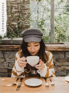 Celebrate National Coffee Day in the Maribel Striped Turtleneck and Herringbone Engineer Hat | Shop Anthropologie