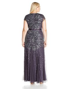 0db58c3f4988c Adrianna Papell Womens Plus Size Cap Sleeve VNeck Fully Beaded Gown  Gunmetal     Visit the image link more details-affiliate link.