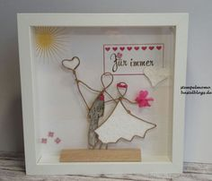 Hochzeitsgeschenk That's my idea for you today. The first time I tried (nope, actually my husban Frame Crafts, Wire Crafts, Diy Home Crafts, Paper Crafts, Wedding Art, Wedding Gifts, Diy Y Manualidades, Valentine Gifts For Husband, Art Du Fil