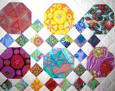 Kaffe Fassett Collective Snowball and 9 Patch by QuiltArtStudio