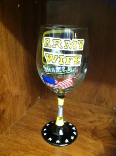 Army Wife Handpainted Wine Glass by CandRCustomCreations on Etsy, $14.99