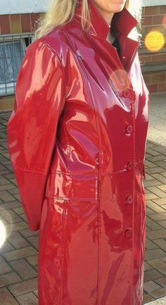 Red Raincoat, Vinyl Raincoat, Plastic Raincoat, Rain Bonnet, Pvc Coat, Rain Wear, Unisex, Leather Jacket, Lady