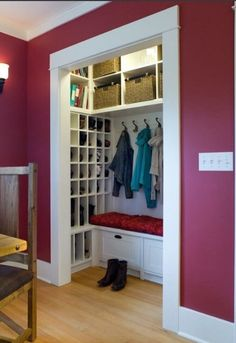 Front Closet turned mudroom…this just gave me the BEST idea. Hmmm @ Home Remodeling Ideas (I actually love this paint color but never for my Dads house or anything.maybe if I lived on my own or something) Craft Ideas,F Front Closet, Closet Mudroom, Closet Storage, Closet Doors, Laundry Storage, Shoe Closet, Laundry Closet, Smart Closet, Closet Bench