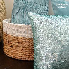Aqua Pillows - Coastal Cottage Beachy Room Makeover