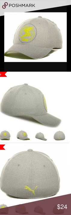 NEW PUMA flexfit flying sneaker hat appliqué cap Stay comfortable & cool w/this structured hat, featuring a normal bill and medium crown. Imported and made of woven spandex, woven polyester, and woven rayon, this product requires easy spot clean product care.   		Style:  20458829 		Color: Gray/yellow 		Material: Made of 49% Polyester, Woven, 49% Rayon, Woven, 2% Spandex, Woven 		Stretch Fitted size large/XL  		Crown:  Mid  		Closure:  Stretch-fit  		Fit:  Structured  		Bill Type:  Normal…
