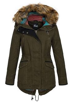 Hailys Damen Parka Kapuze Kunstfell abnehmbar 2 Taschen 2 deko Zipper khaki Hailys Jacken | 77onlineshop im Online Shop preiswert kaufen