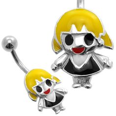 Buy now at www.bodyjewelleryshop.com -  Silver Belly Piercing Bar - Blonde Doll. We have the largest variety of bananabells you'll find! #bananabell #piercings #bodyjewellery @piercedfashion