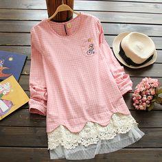 Crochet-Hem Check Dress (c) Flower Idea (c) YesStyle