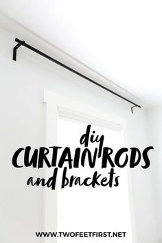 DIY Curtain Rods and Brackets Make your home more inviting and cozy by adding curtains to the windows. But use this budget-friendly tutorial on how to make DIY curtain rods and bracket. This project is an easy and cheap way to update your home decor. Homemade Curtain Rods, Cheap Curtain Rods, Long Curtain Rods, Black Curtain Rods, Homemade Curtains, Window Curtain Rods, Metal Curtain, Cheap Curtains, Long Curtains